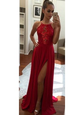 2020 Siren Side Slit Chiffon Red Prom Dresses