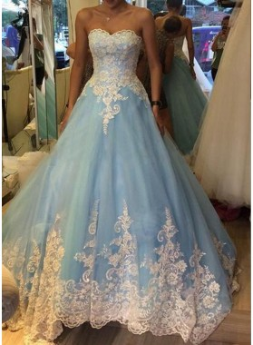 LadyPromDress 2019 Blue Sweetheart Appliques Natural Ball Gown Tulle Prom Dresses