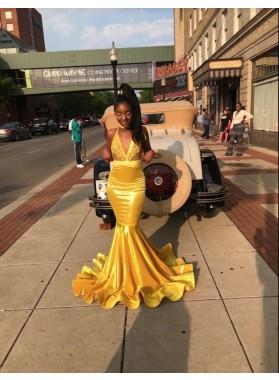 2019 Gorgeous Gold V-neck Mermaid Prom Dresses
