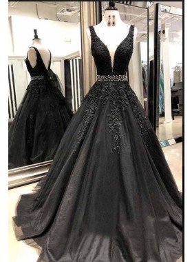2020 Cheap Black V-neck Beaded Tulle Prom Dresses