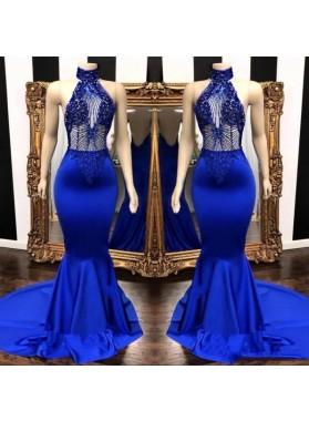 2021 High Neck Beaded Mermaid Royal Blue Prom Dresses