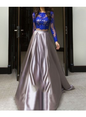 2019 Two Piece Long Sleeve Silver Satin Prom Dresses