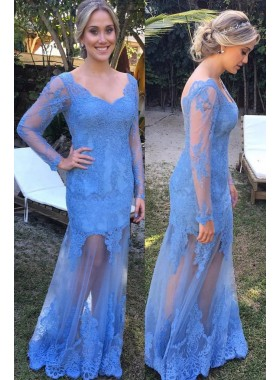 LadyPromDress 2019 Blue Long Sleeve Scoop Neck Floor-Length/Long Column/Sheath Lace Prom Dresses