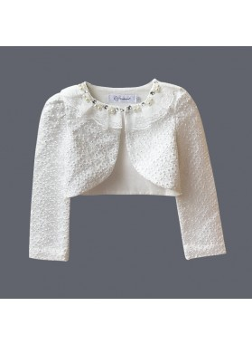 New Arrival White Lace Long Sleeves Pearls First Communion Wrap For Girls