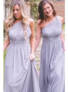 One Shoulder A Line Lavender Chiffon Bridesmaid Dresses