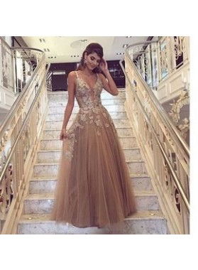 New Arrival Princess/A-Line Champagne Tulle Prom Dresses With Appliques