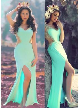 V-Neck Appliques Split Front Floor-Length/Long Column/Sheath Prom Dresses
