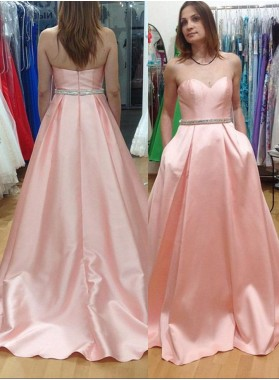 2019 Glamorous Pink Sweetheart Sleeveless Zipper Sweep Train Satin A-Line/Princess Prom Dresses