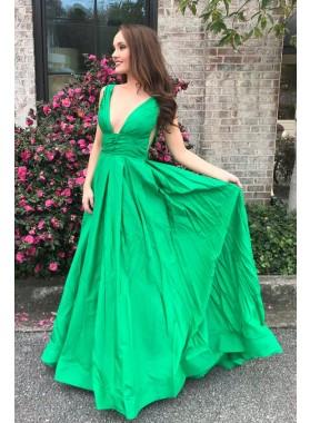 2019 Cheap Princess/A-Line Satin V-neck Prom Dresses