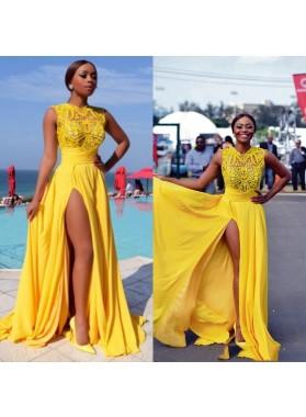 2019 Yellow Split Chiffon Prom Dresses