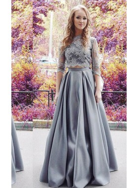 Appliques A-Line/Princess Stretch Satin Two Pieces Silver Prom Dresses