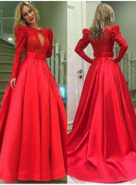 2019 Gorgeous Red Long Sleeve Ball Gown Satin Prom Dresses