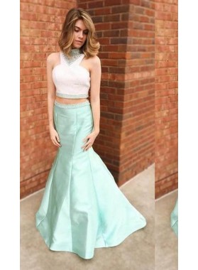 Beading High Neck Mermaid/Trumpet Satin Two Pieces Prom Dresses