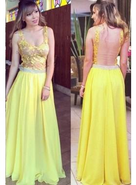 Illusion Appliques A-Line/Princess Chiffon Prom Dresses