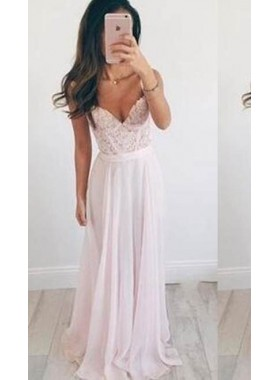 Straps Floor-Length/Long A-Line/Princess Chiffon Prom Dresses