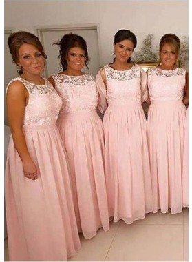 2021 Cheap A Line Pink Chiffon Bateau Lace Long Bridesmaid Dresses / Gowns