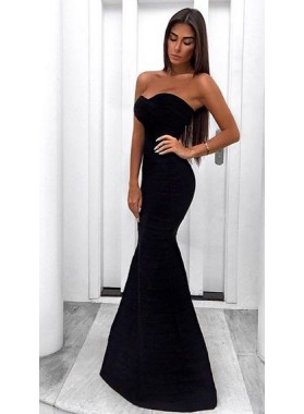 2019 Sexy Mermaid/Trumpet Sweetheart Black Prom Dresses