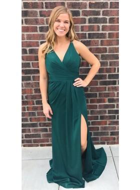 Princess/A-Line Chiffon Teal 2019 Cheap Halter Side Slit Prom Dresses