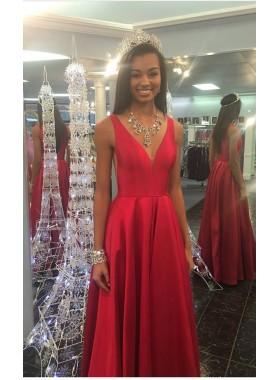 2019 Elegant Princess/A-Line Satin Red 2019 Cheap Prom Dresses
