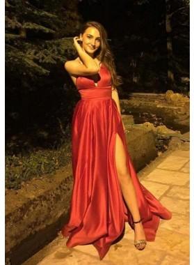 2019 Siren Red Side Slit Sweetheart Satin Prom Dresses