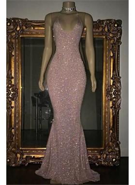 2021 Pink Halter Sequins Prom Dresses
