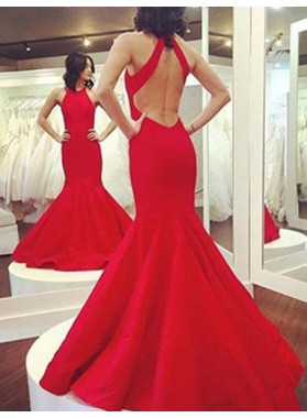 2019 Gorgeous Red Halter Backless Mermaid/Trumpet Prom Dresses