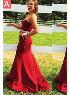 2018 Gorgeous Red Sweetheart Crystal Waist Satin Prom Dresses
