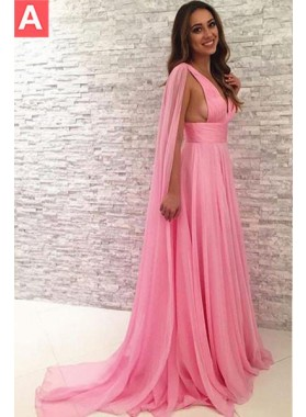 Watteau Train Empire Waist Chiffon 2018 Glamorous Pink Prom Dresses