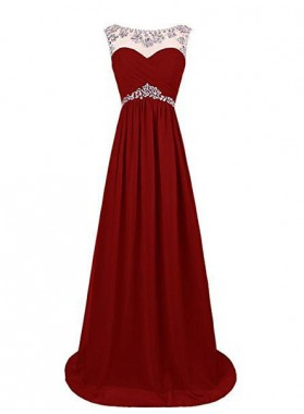 2019 Gorgeous Red Sexy Crystal Floor-Length/Long A-Line/Princess Chiffon Prom Dresses
