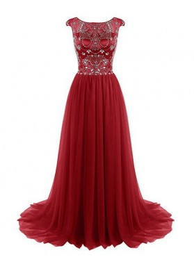 2019 Gorgeous Red Crystal Capped Sleeves Sweep Train Chiffon Prom Dresses