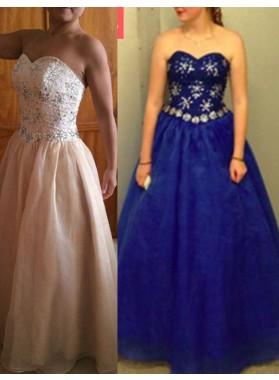 A-Line/Princess Sweetheart Beading Floor-Length/Long Tulle Royal Blue Prom Dresses