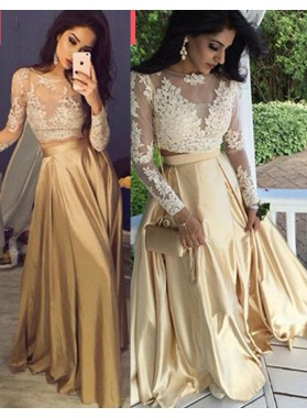 Long Sleeve Appliques Two Pieces A-Line/Princess Satin Prom Dresses