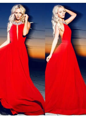 Halter Crystal Backless Floor-Length/Long A-Line/Princess Chiffon 2019 Gorgeous Red Prom Dresses