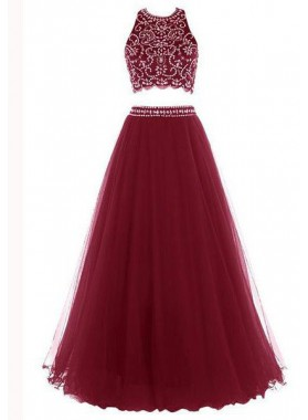 Floor-Length/Long A-Line/Princess Halter Beading Tulle Prom Dresses