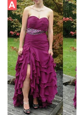 Sweetheart Beading Layers Floor-Length/Long Chiffon Prom Dresses
