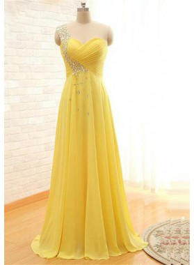 Floor-Length/Long A-Line/Princess One Shoulder Beading Chiffon Prom Dresses
