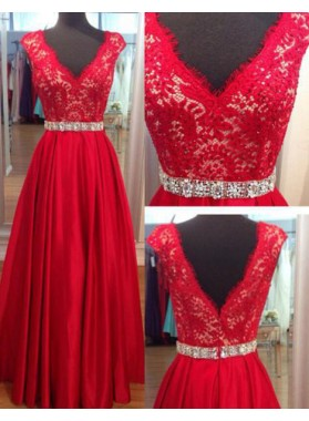 A-Line/Princess V-Neck Sleeveless Natural Zipper Lace Floor-Length/Long Satin 2019 Gorgeous Red Prom Dresses