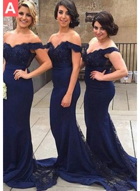 Floor-Length/Long Mermaid/Trumpet Off-the-Shoulder Appliques Dark Navy Prom Dresses