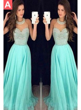 Floor-Length/Long A-Line/Princess Beading Tulle Prom Dresses LadyPromDress 2020 Blue