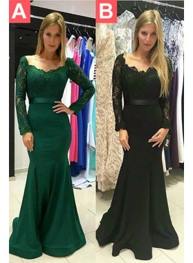 2019 Junoesque Black Off-the-Shoulder Lace Long Sleeve Mermaid/Trumpet Prom Dresses
