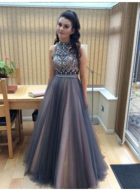 Light Slate Gray Tulle Backless Prom Dresses
