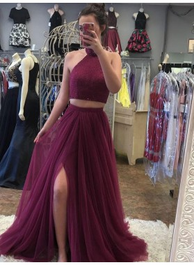 2021 Siren Princess/A-Line Tulle Side Slit Two Pieces Burgundy Prom Dresses