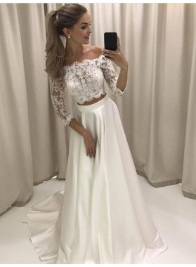 2021 Elegant Princess/A-Line White Long Sleeves Two Pieces Off The Shoulder Prom Dresses
