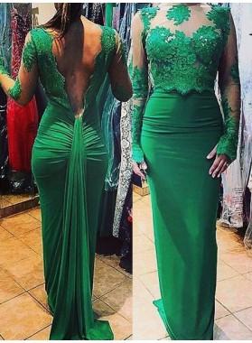 Appliques Ruching Column/Sheath Stretch Satin Dark Green Prom Dresses