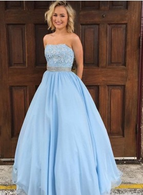 LadyPromDress 2018 Blue Appliques Strapless Ball Gown Tulle Prom Dresses