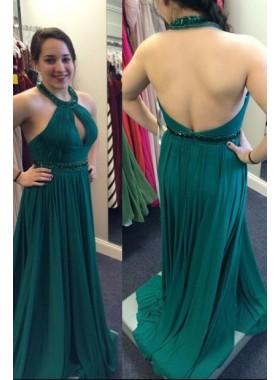 Halter Pleats A-Line/Princess Chiffon Prom Dresses