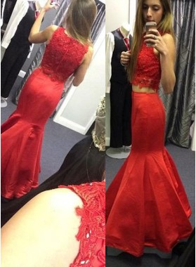 2019 Gorgeous Red Lace Floor-Length/Long Mermaid/Trumpet Satin Prom Dresses