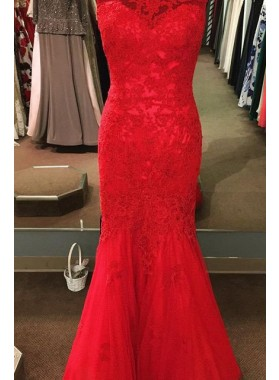 2018 Gorgeous Red Round Neck Sleeveless Mermaid/Trumpet Tulle Prom Dresses