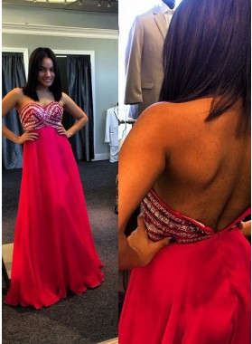 2019 Gorgeous Red Crystal Backless Detailing A-Line/Princess Chiffon Prom Dresses