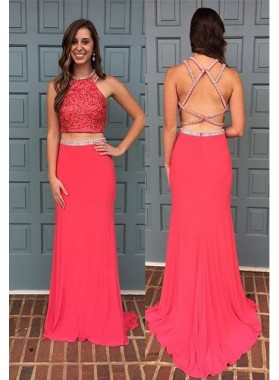 2019 Gorgeous Red Halter Column/Sheath Two Pieces Stretch Satin Prom Dresses